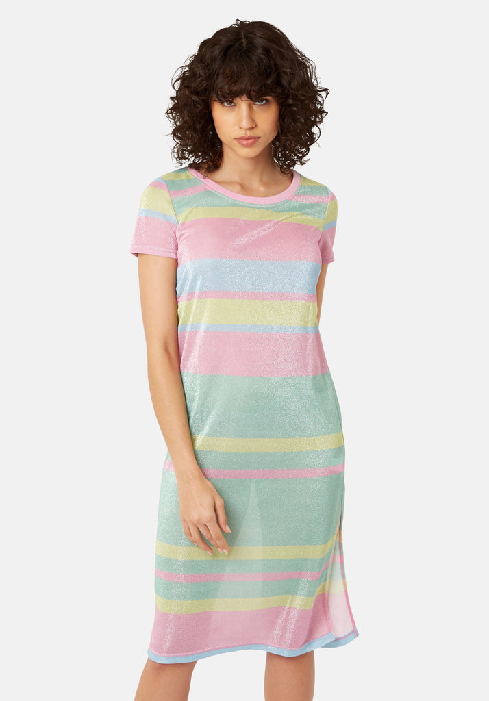 Traffic People T-shirt Short Sleeved Stripe Midi Dress in Multicoloured Back View Image