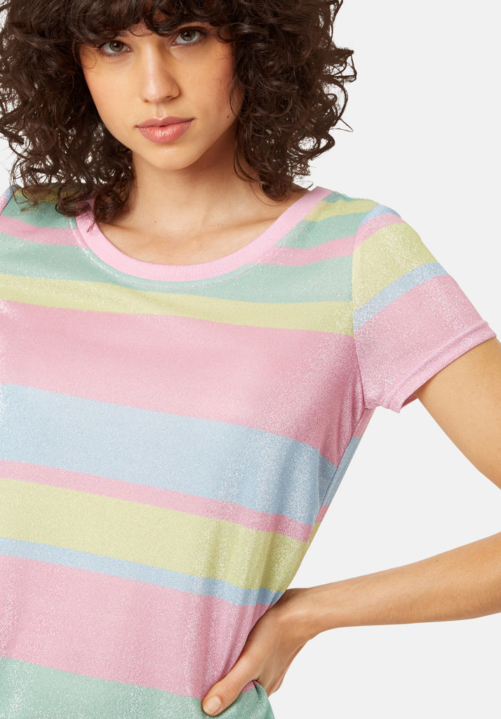 Traffic People T-shirt Short Sleeved Stripe Midi Dress in Multicoloured Close Up Image