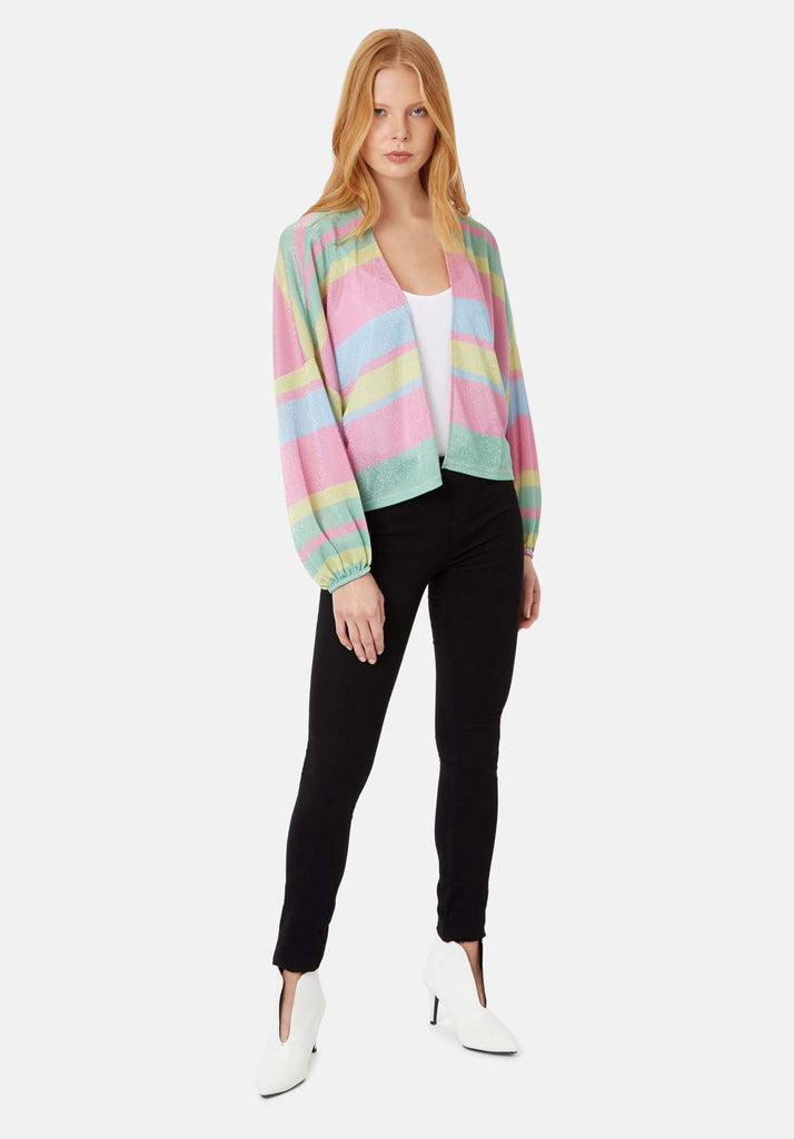 Shebert Stripe Longsleeve Shrug Jacket in Multicolour