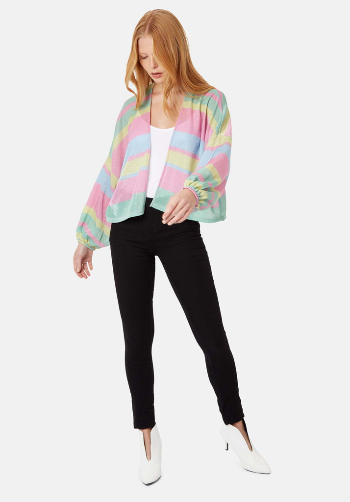 Traffic People Shebert Stripe Longsleeve Shrug Jacket in Multicolour Close Up Image