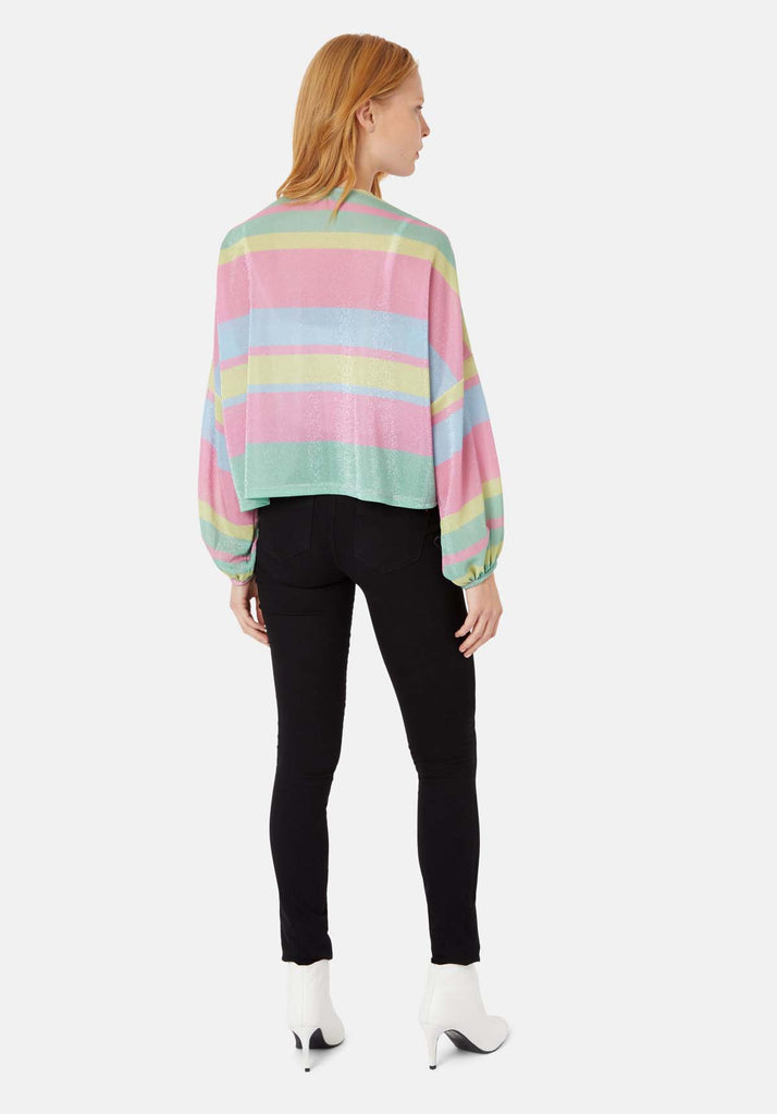 Traffic People Shebert Stripe Longsleeve Shrug Jacket in Multicolour Side View Image