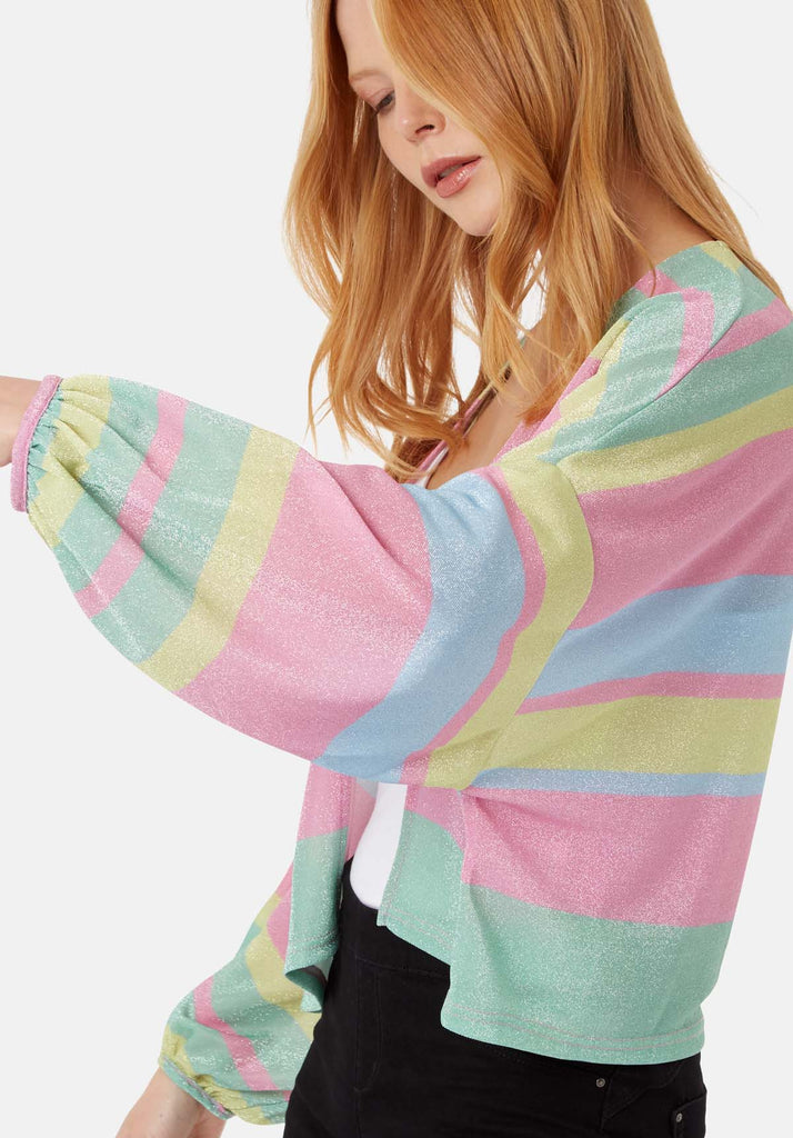 Traffic People Shebert Stripe Longsleeve Shrug Jacket in Multicolour Back View Image