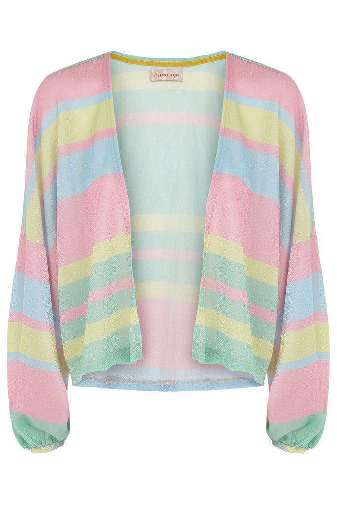 Traffic People Shebert Stripe Longsleeve Shrug Jacket in Multicolour FlatShot Image