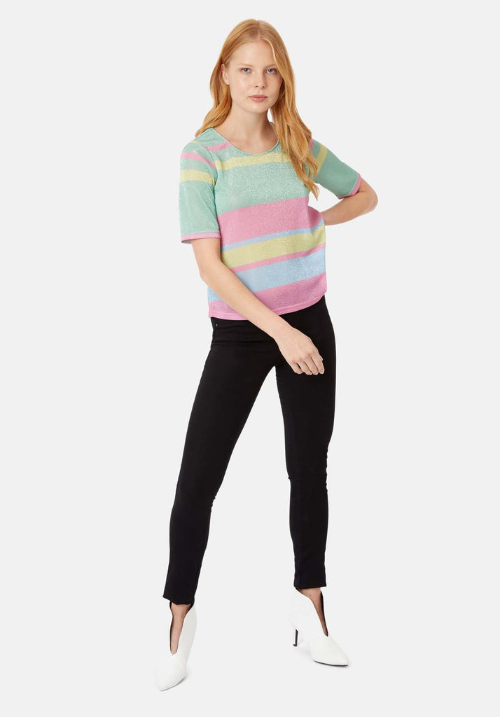 Traffic People Tresspass Metallic Stripe Short Sleeve Top in Multicoloured Back View Image