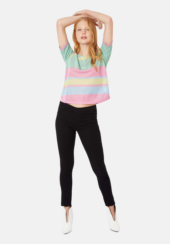 Tresspass Metallic Stripe Short Sleeve Top in Multicoloured