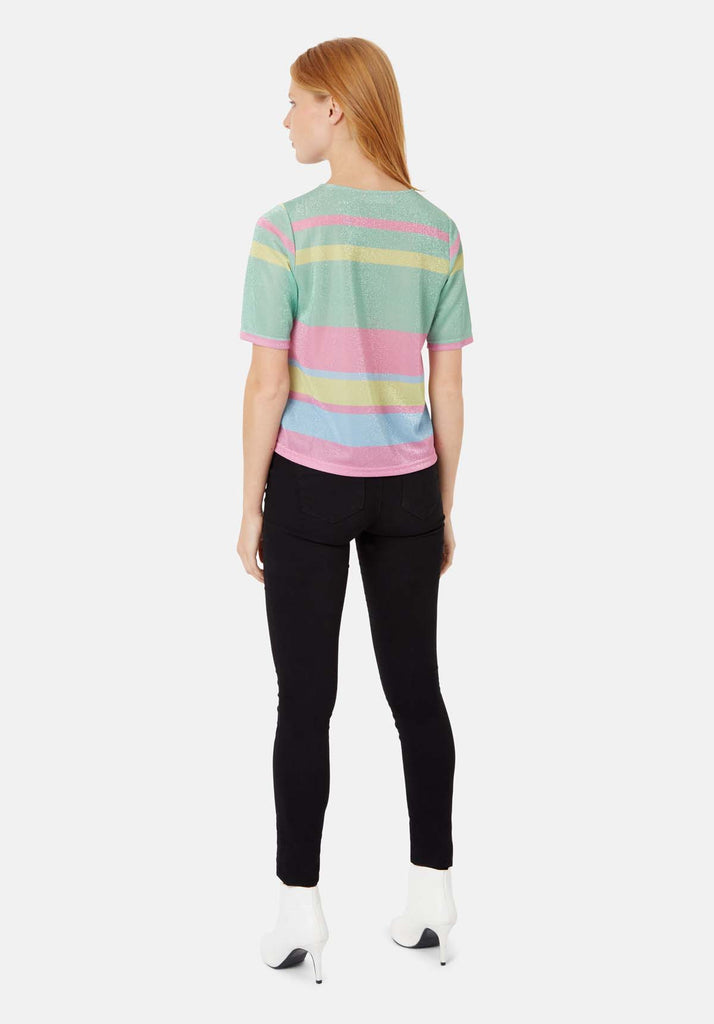 Traffic People Tresspass Metallic Stripe Short Sleeve Top in Multicoloured Side View Image