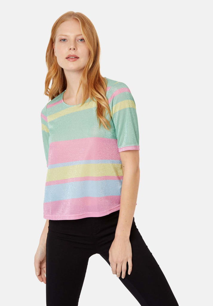Traffic People Tresspass Metallic Stripe Short Sleeve Top in Multicoloured Front View Image