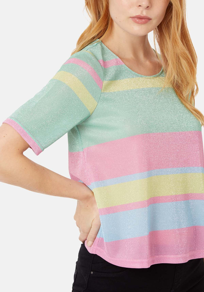 Traffic People Tresspass Metallic Stripe Short Sleeve Top in Multicoloured Close Up Image