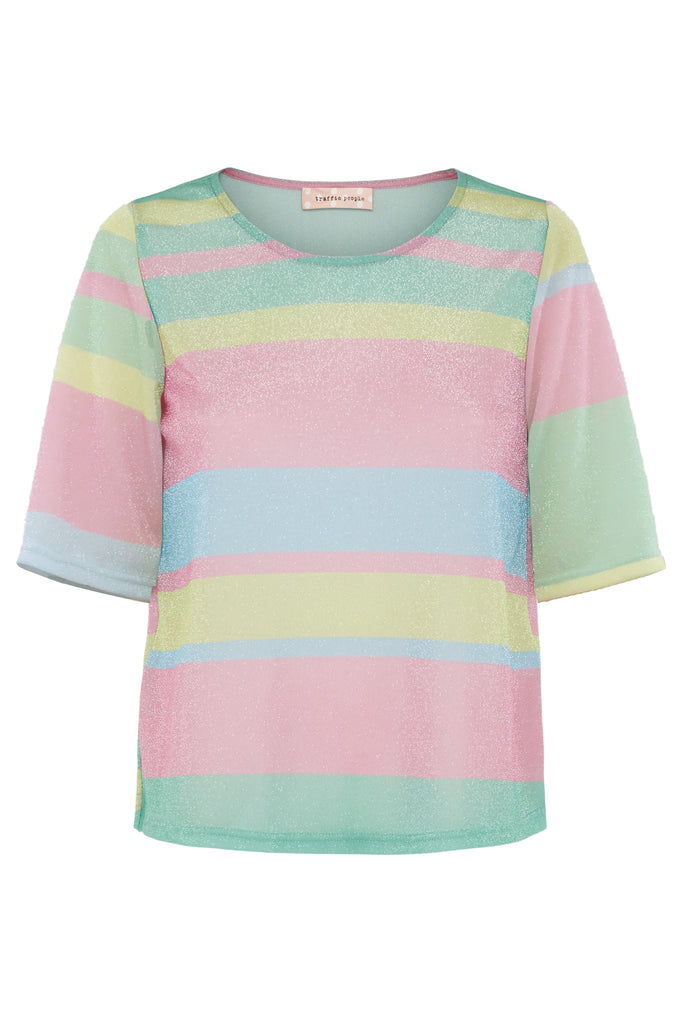 Traffic People Tresspass Metallic Stripe Short Sleeve Top in Multicoloured FlatShot Image