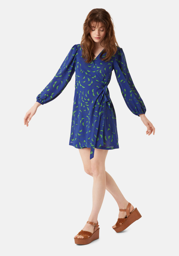 Traffic People Munity Wrap Mini Dress in Blue and Green Front View Image