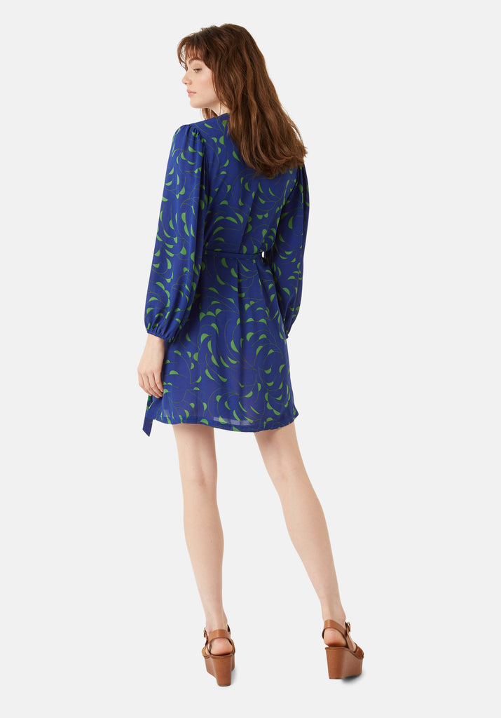 Traffic People Munity Wrap Mini Dress in Blue and Green Side View Image