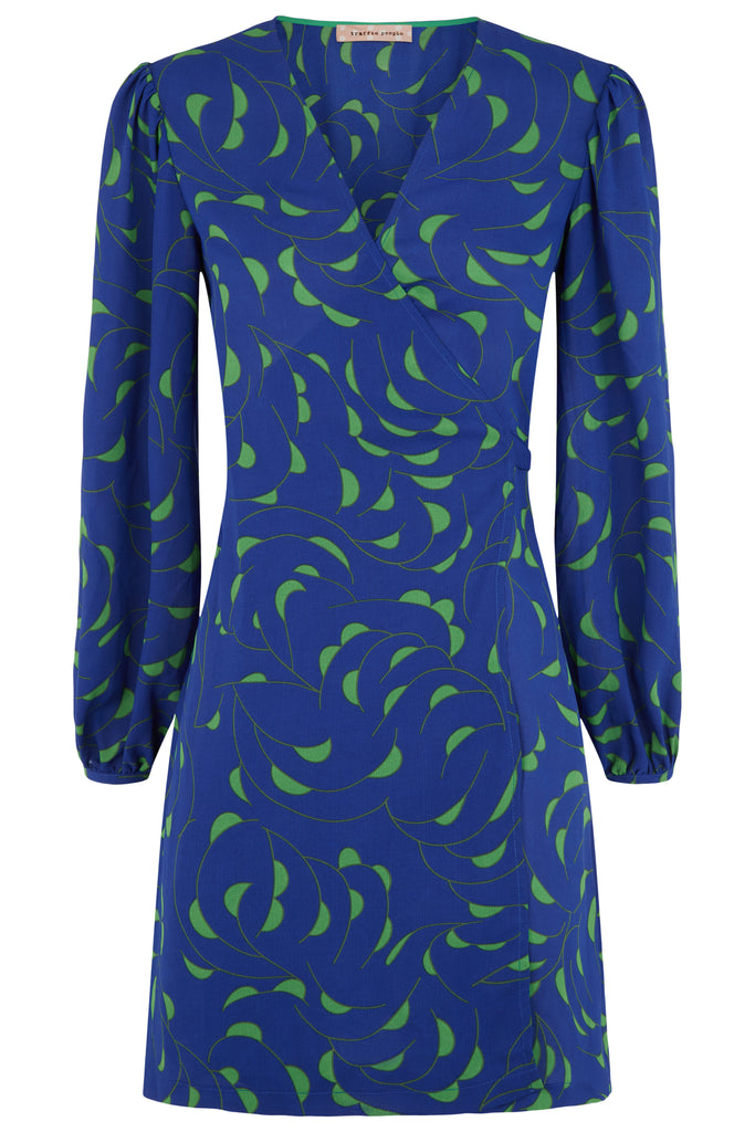 Traffic People Munity Wrap Mini Dress in Blue and Green FlatShot Image