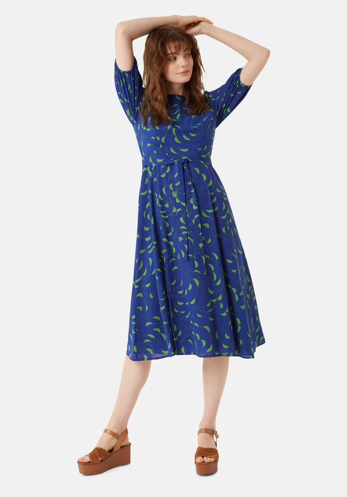 Traffic People Mindy Short Sleeve Printed Dress in Blue Front View Image