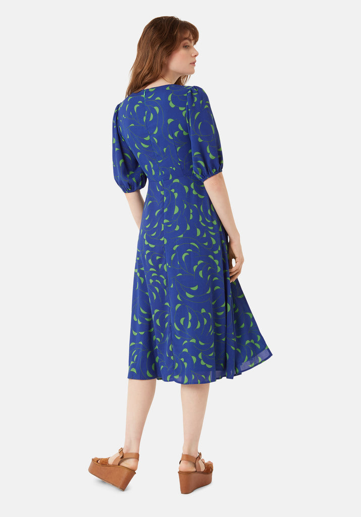 Traffic People Mindy Short Sleeve Printed Dress in Blue Side View Image