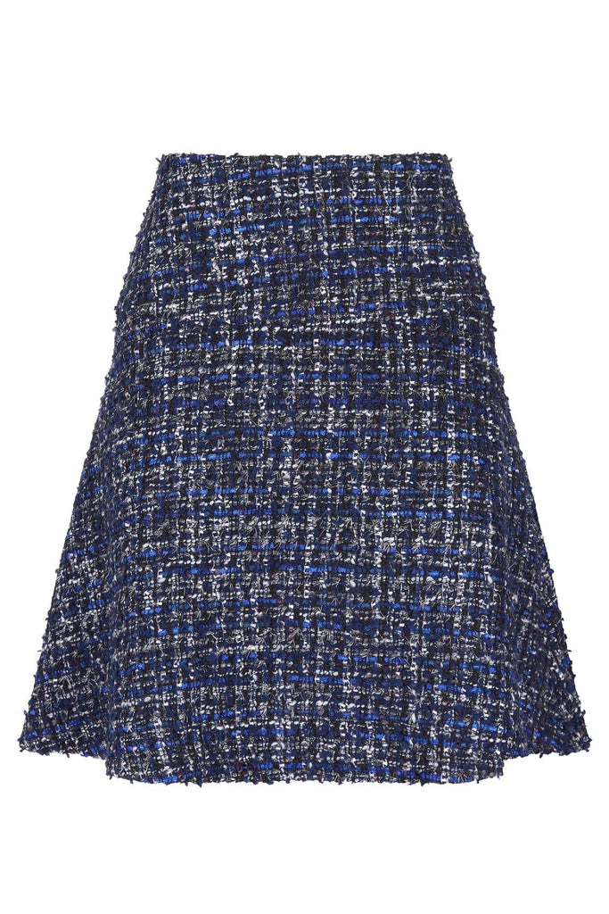 Traffic People Tweed Skater Mini Skirt in Navy Side View Image