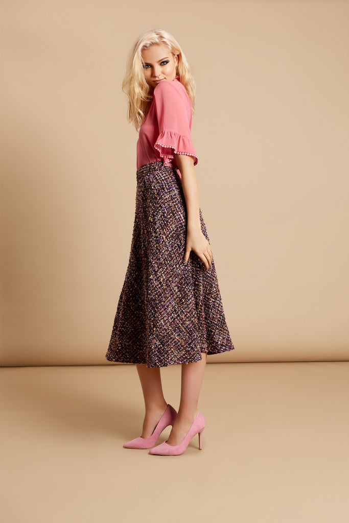 Traffic People Midi Tweed Dior Skirt in Purple Front View Image