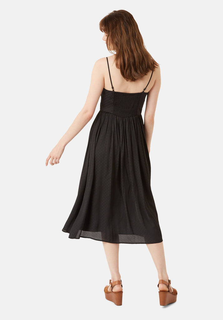 Traffic People Darcy Chiffon Spaghetti Strap Midi Dress in Black Side View Image