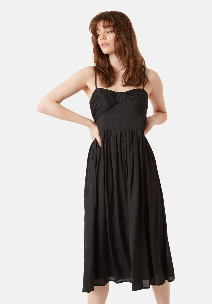 Traffic People Darcy Chiffon Spaghetti Strap Midi Dress in Black Front View Image