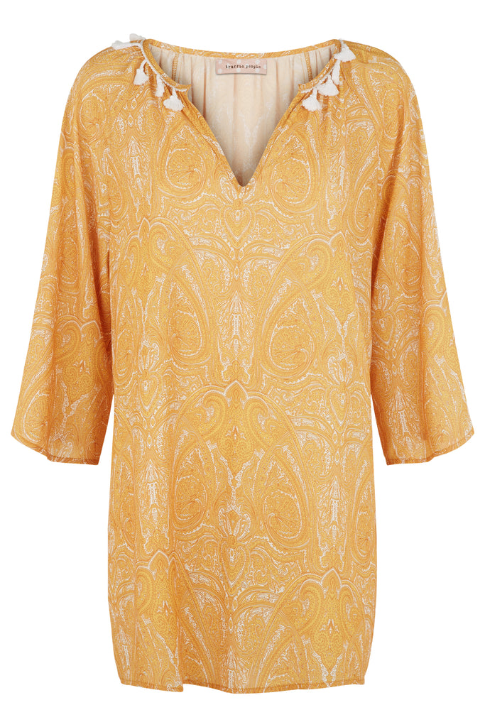 Traffic People Moments Paisley Printed Mini Dress in Mustard Yellow FlatShot Image