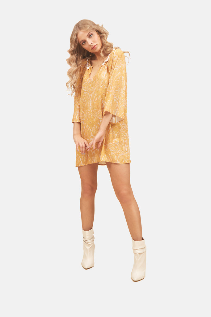 Traffic People Moments Paisley Printed Mini Dress in Mustard Yellow Front View Image