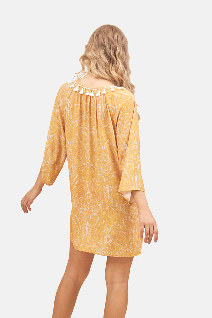 Traffic People Moments Paisley Printed Mini Dress in Mustard Yellow Back View Image