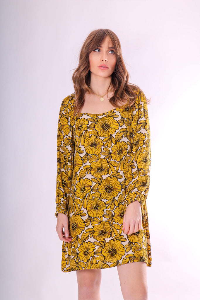 Traffic People Capri Mini Dress in Yellow Floral Print Front View Image