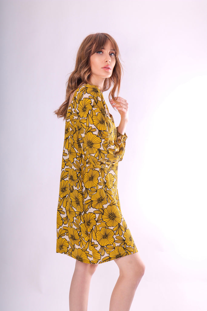 Traffic People Capri Mini Dress in Yellow Floral Print Side View Image