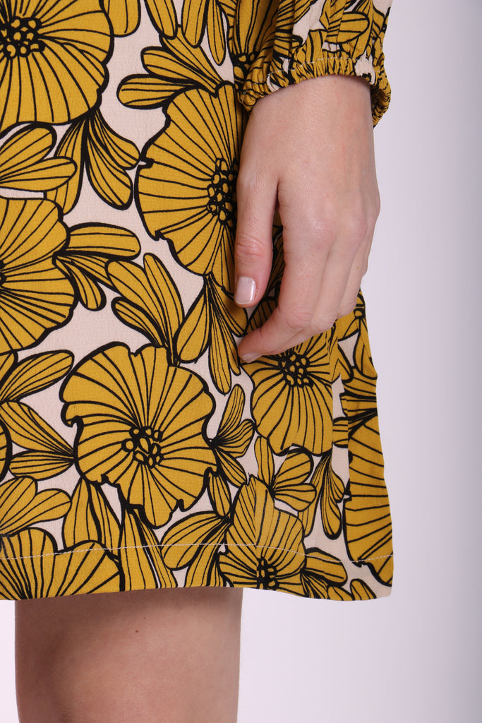 Traffic People Capri Mini Dress in Yellow Floral Print Close Up Image