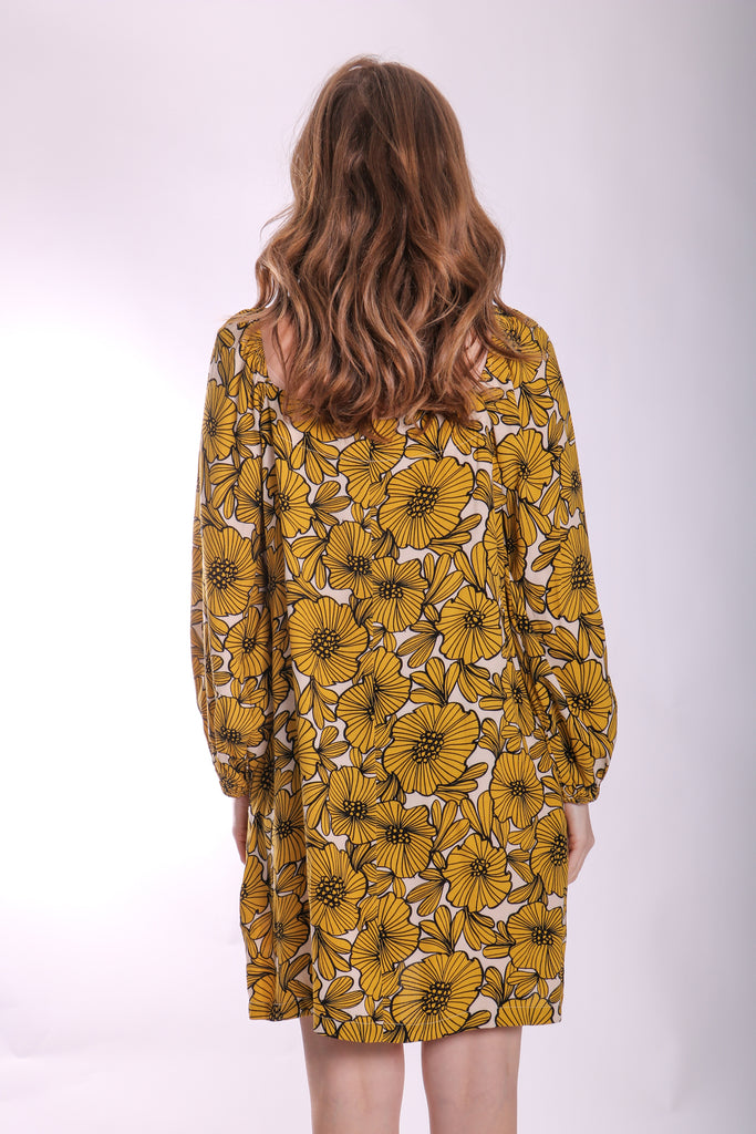 Traffic People Capri Mini Dress in Yellow Floral Print Back View Image