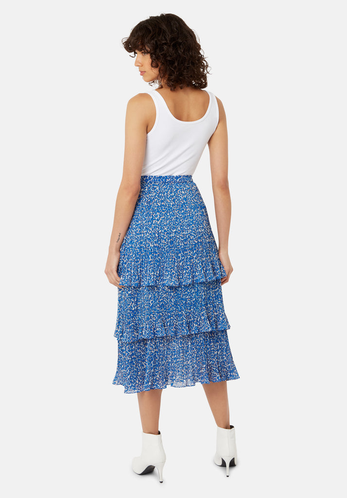 Traffic People Maxi Rara Tiered Skirt in Blue Animal Print Side View Image