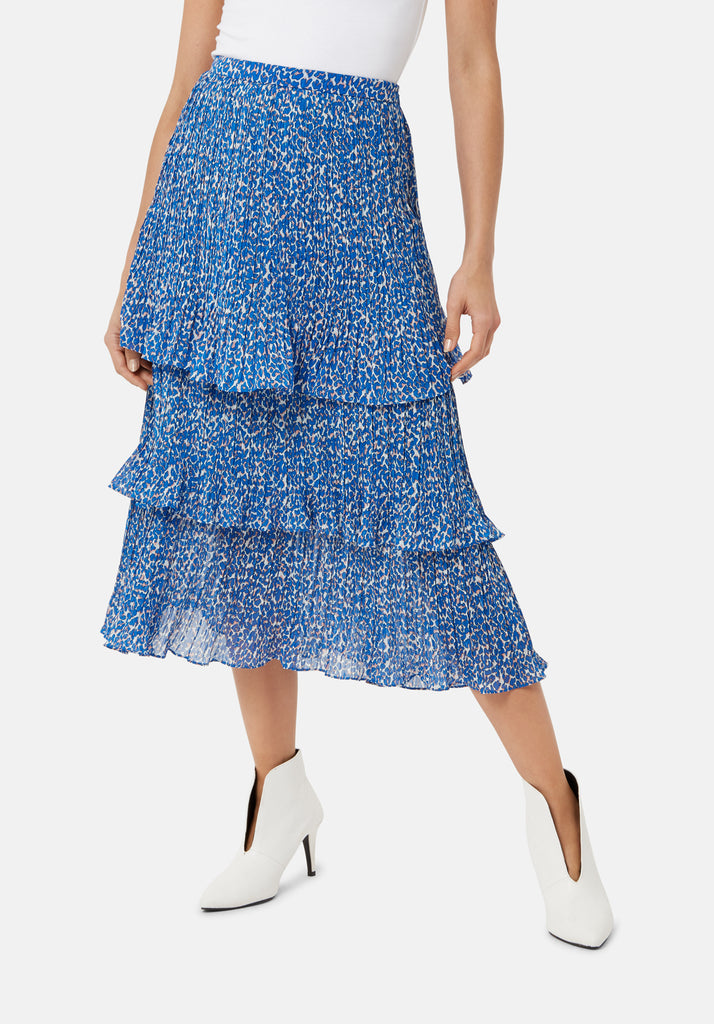 Traffic People Maxi Rara Tiered Skirt in Blue Animal Print Back View Image