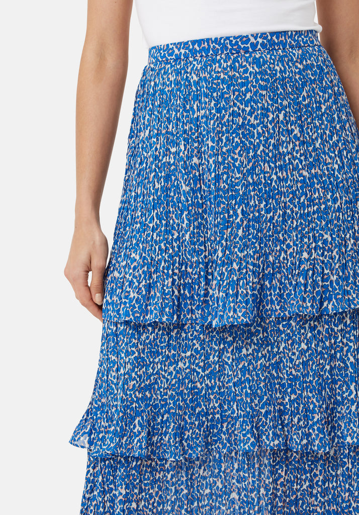 Traffic People Maxi Rara Tiered Skirt in Blue Animal Print Close Up Image