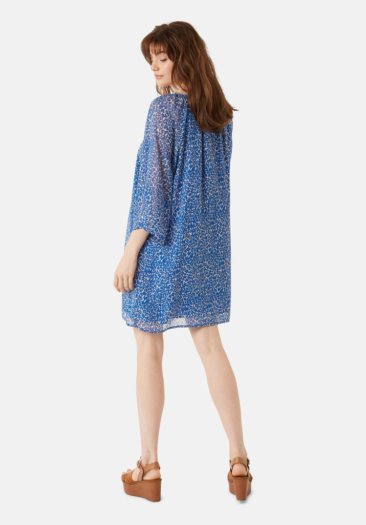 Traffic People Moments Long Sleeve Animal Print Dress in Blue Side View Image