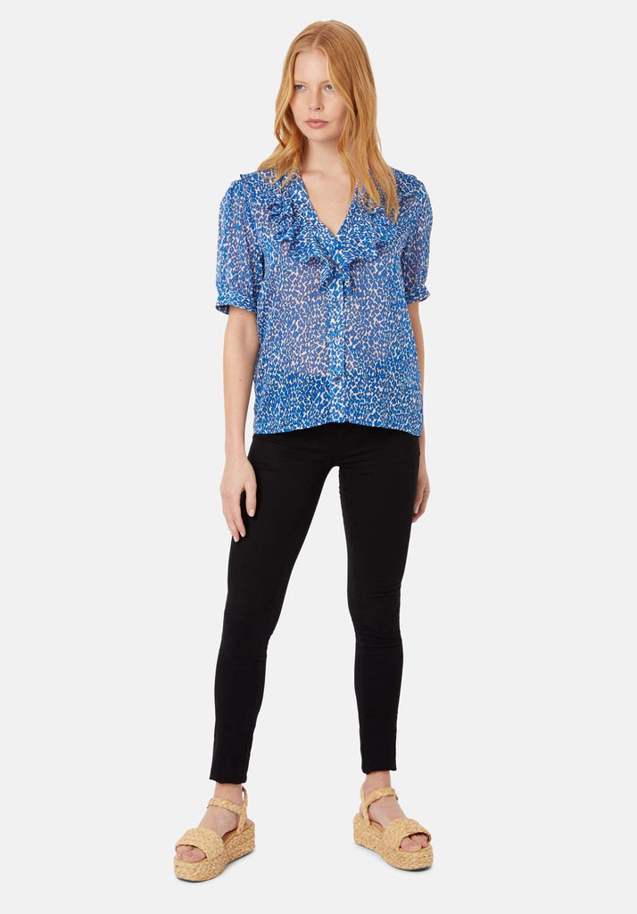 Ruffle Animal Print Short Sleeve Blouse in Blue