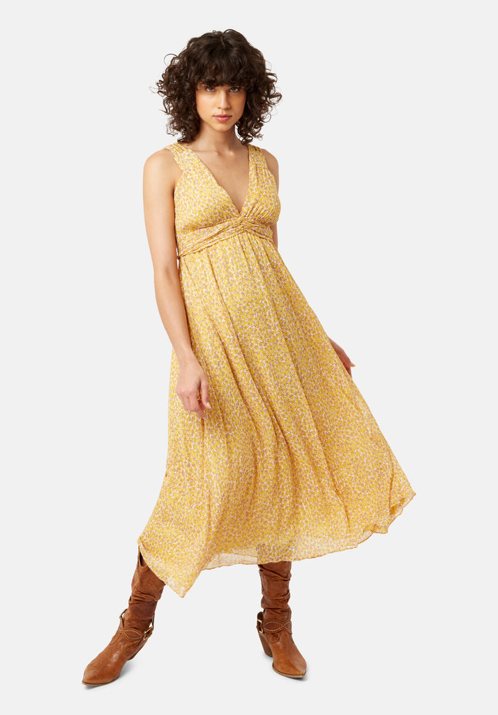 Traffic People Sleeveless Summer Dreams Maxi Dress in Yellow Animal Print Front View Image