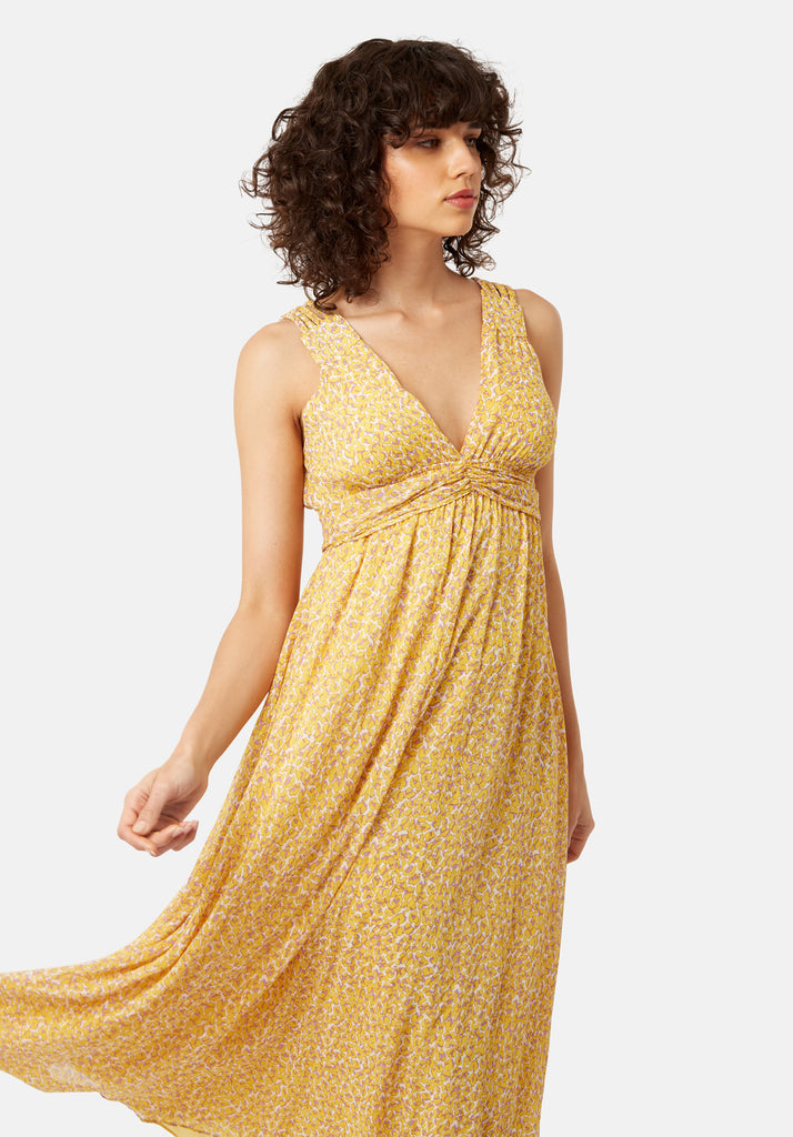 Traffic People Sleeveless Summer Dreams Maxi Dress in Yellow Animal Print Back View Image
