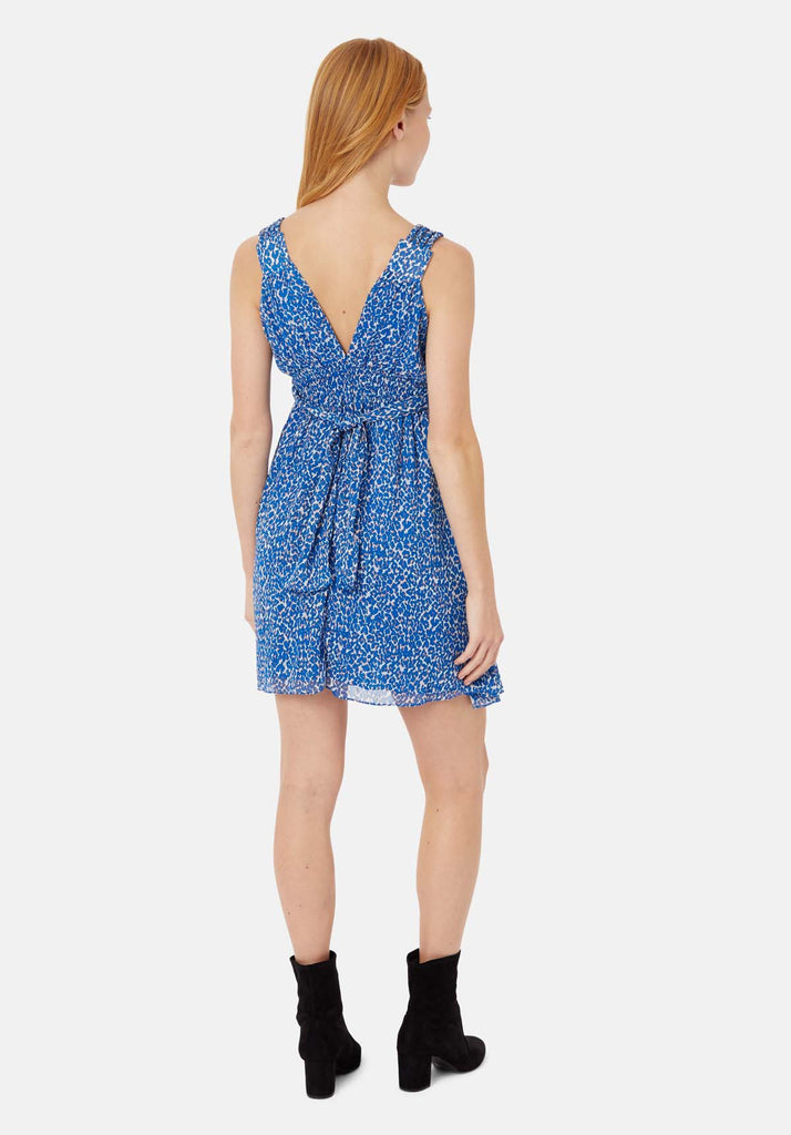 Traffic People Sleeveless V-Neck Mini Dress in Blue Animal Print Side View Image