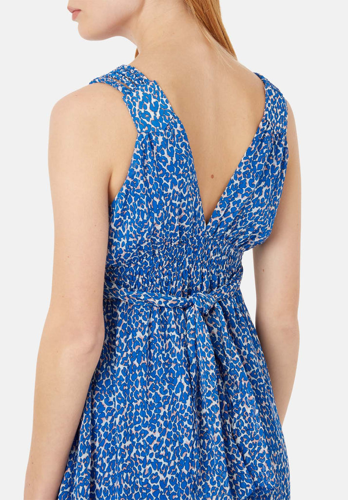 Traffic People Sleeveless V-Neck Mini Dress in Blue Animal Print Close Up Image