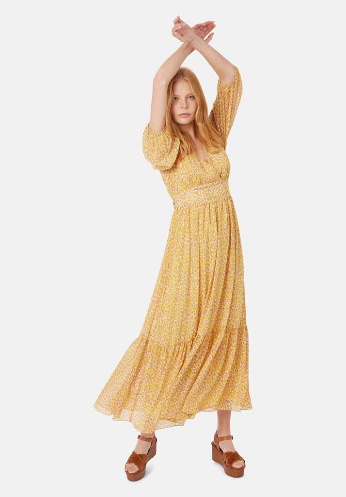 Traffic People Silent Breath Animal Print Maxi Dress in Yellow Front View Image