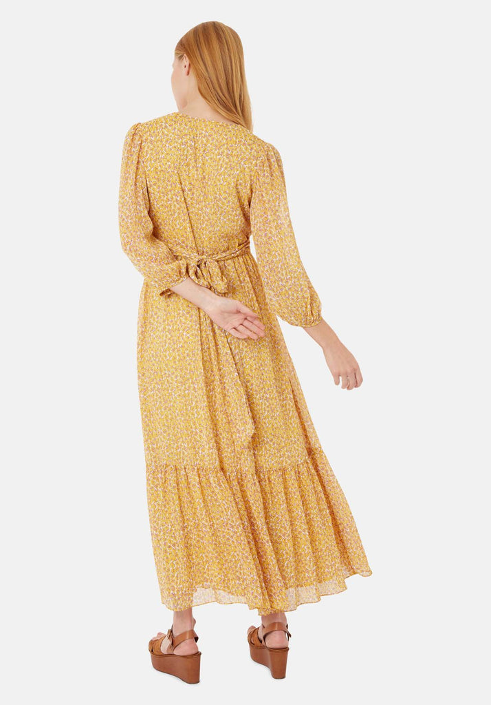 Traffic People Silent Breath Animal Print Maxi Dress in Yellow Side View Image