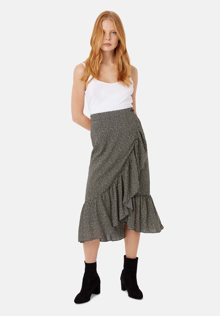 Traffic People Star Wrap Midi Skirt in Black and White Front View Image