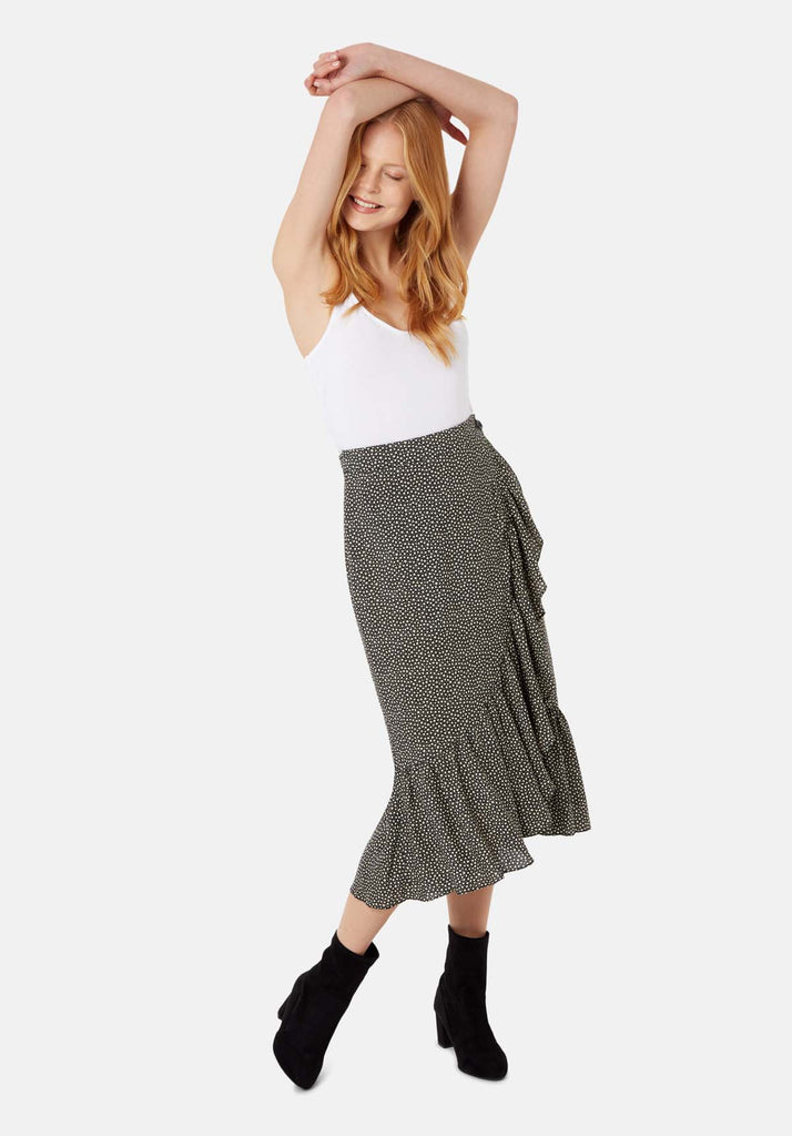 Star Wrap Midi Skirt in Black and White