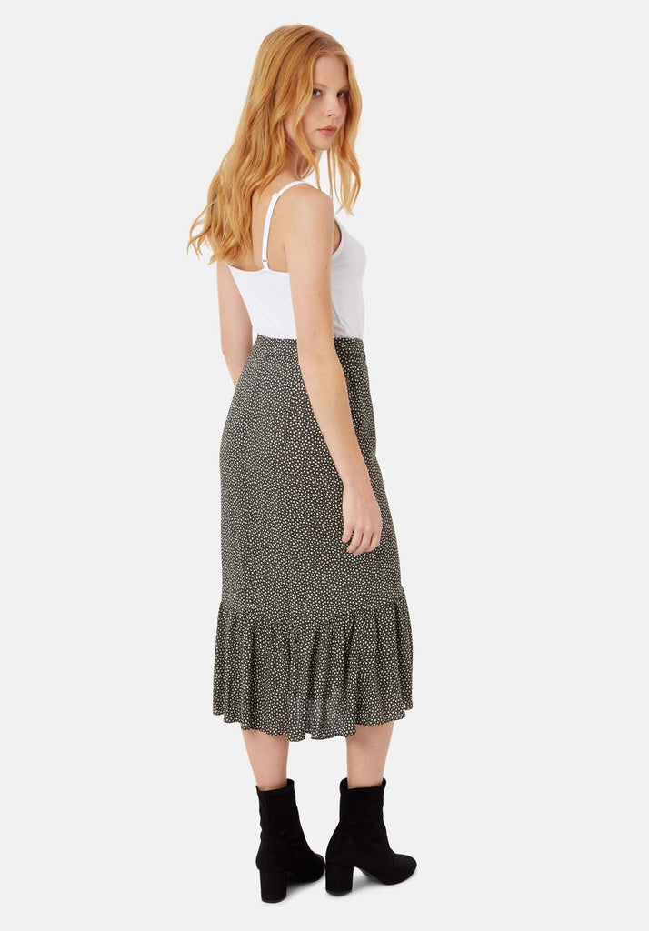 Traffic People Star Wrap Midi Skirt in Black and White Side View Image