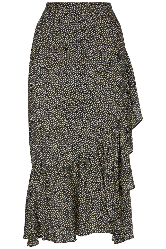 Traffic People Star Wrap Midi Skirt in Black and White FlatShot Image