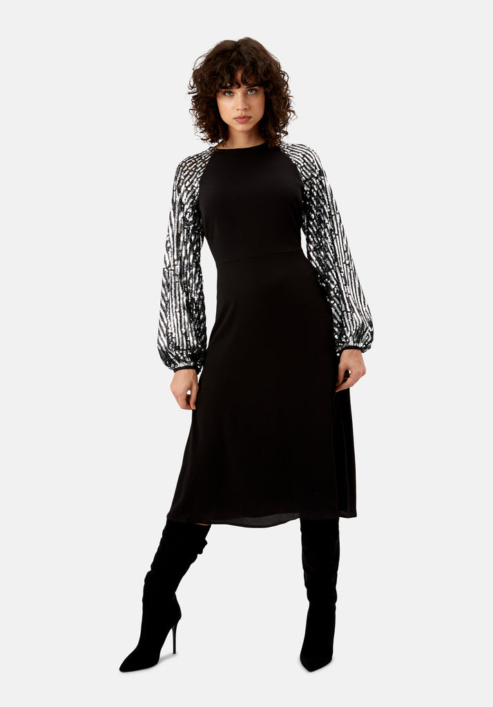 Traffic People The Blame Sequin Maxi Dress in Black Front View Image