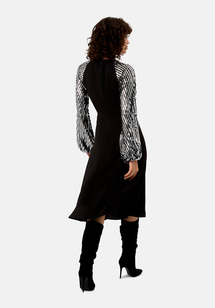 Traffic People The Blame Sequin Maxi Dress in Black Back View Image