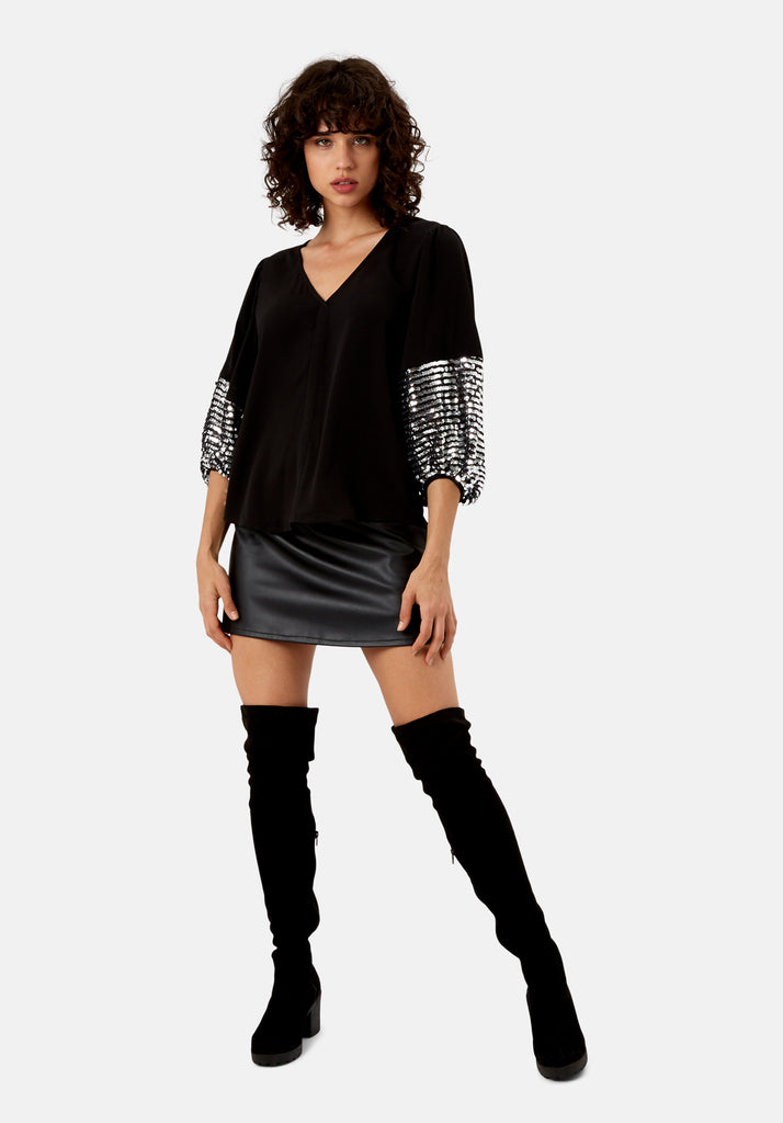 Traffic People Shoulder The Blame Sequin Shirt in Black and Silver Side View Image