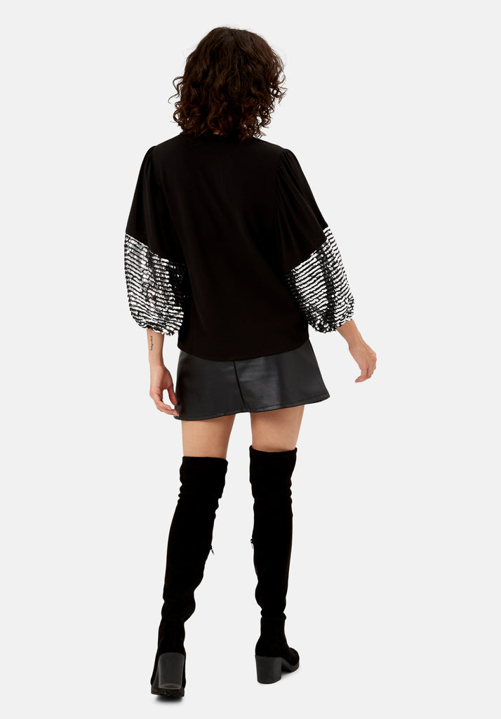 Traffic People Shoulder The Blame Sequin Shirt in Black and Silver Back View Image