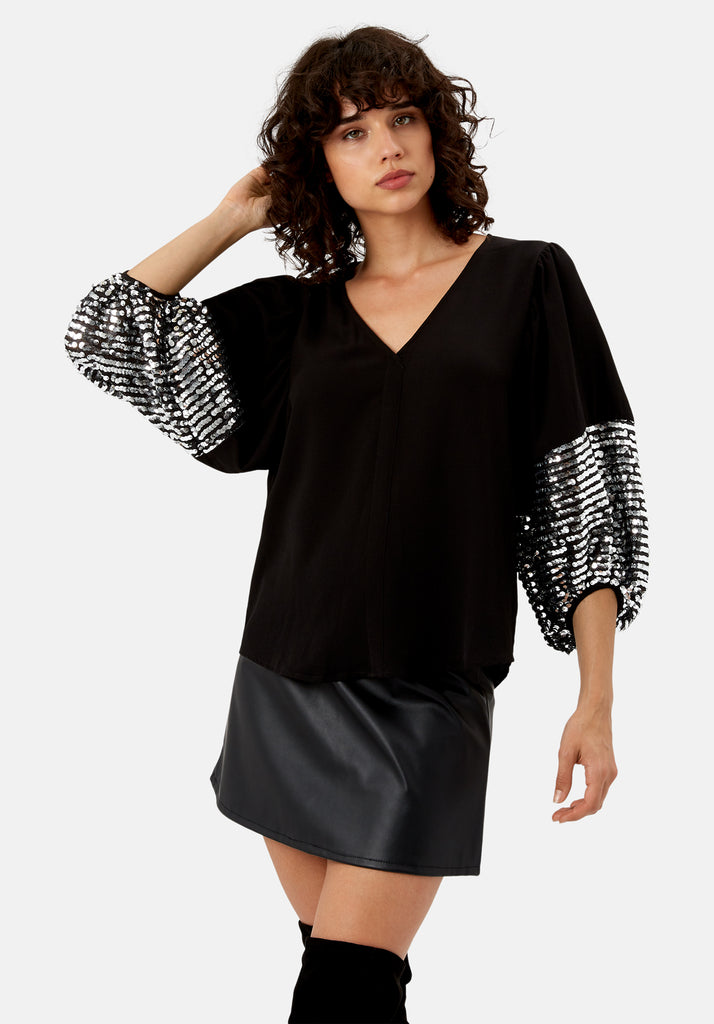 Traffic People Shoulder The Blame Sequin Shirt in Black and Silver Front View Image