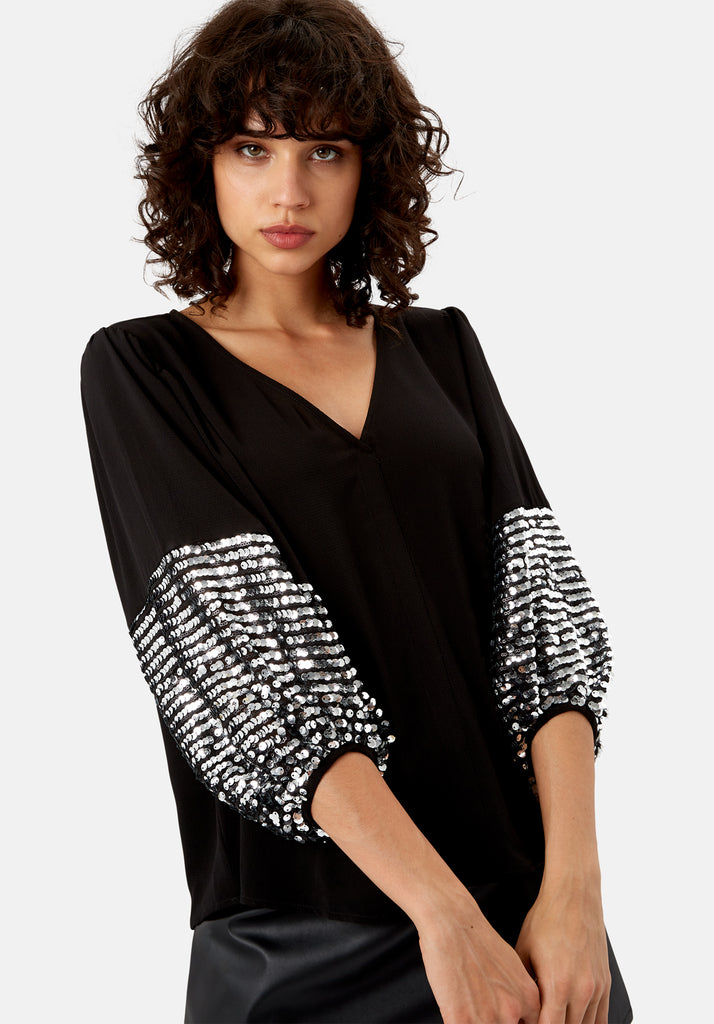 Traffic People Shoulder The Blame Sequin Shirt in Black and Silver Close Up Image